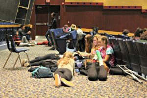 Students lounge during the BHS auditorium study hall on Monday, Oct. 17.   Photo: Alexandre Silberman/Register