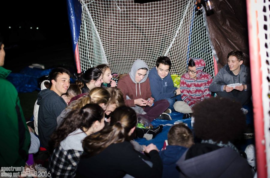 Students camp outside during the second annual Spectrum Sleep Out. Francesca Dupuis, organizer of the event, says it may happen inside this year. | Photo: Spectrum