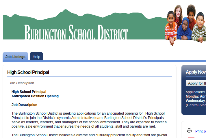 The job posting for the Burlington High School principal position, as seen on the district website on April 12.
