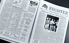 The front page of an edition of the Register from March 1953. The top story was the boys basketball teams overtime victory over Montpelier to win the Class A championship. | Photo: Jake Bucci/Register