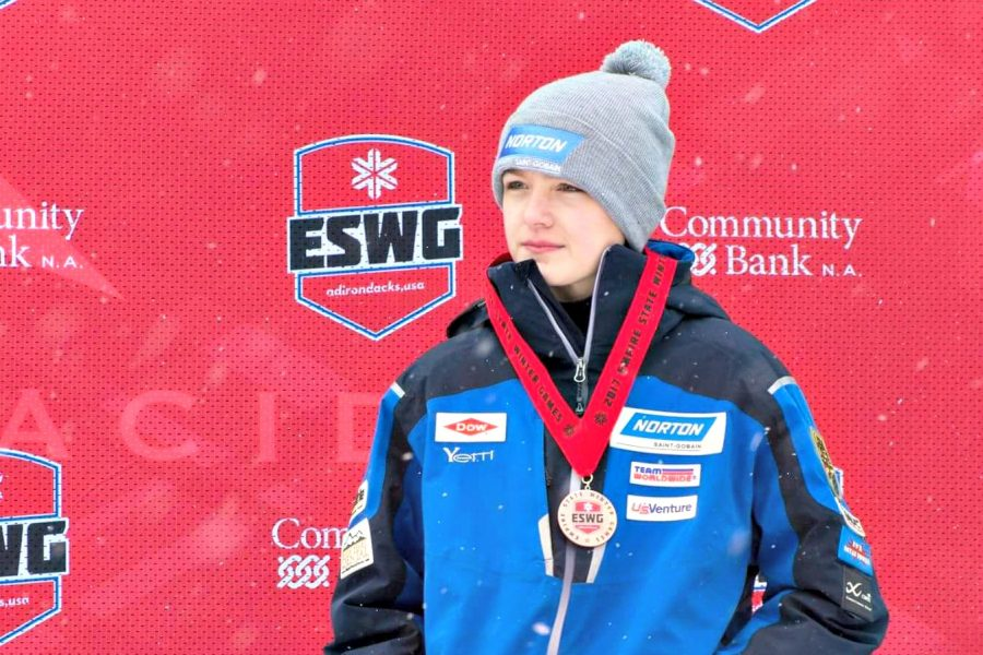 Burlington+High+School+freshman+Eamonn+Bottger+receives+his+medal+after+a+podium+finish+in+luge+at+the+Empire+State+Winter+Games+in+Lake+Placid%2C+N.Y.+%7C+Photo+Courtesy%3A+Eamonn+Bottger