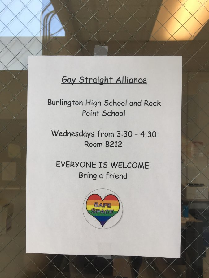 Posters around Burlington High School advertise the Gay Straight Alliance club, which was relaunched as an after school program this year. | Photo: Lucy Govoni/Register