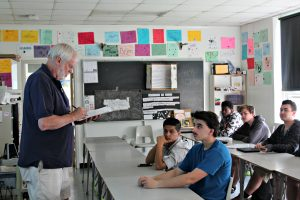 Mike Interlandi takes attendance while teaching health class on May 18. He will be retiring this summer after teaching and coaching at BHS for 20 years. | Photo: Alexandre Silberman/Register
