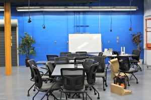 Burlington Technical Center's new makerspace includes flexible work areas with moving tables, whiteboards and chairs. | Photo: Alexandre Silberman/Register
