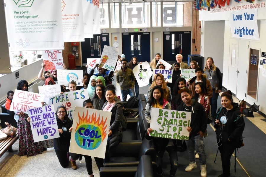 Photo: Summer Grace / Students gather for an environmental rally in April, 2018.