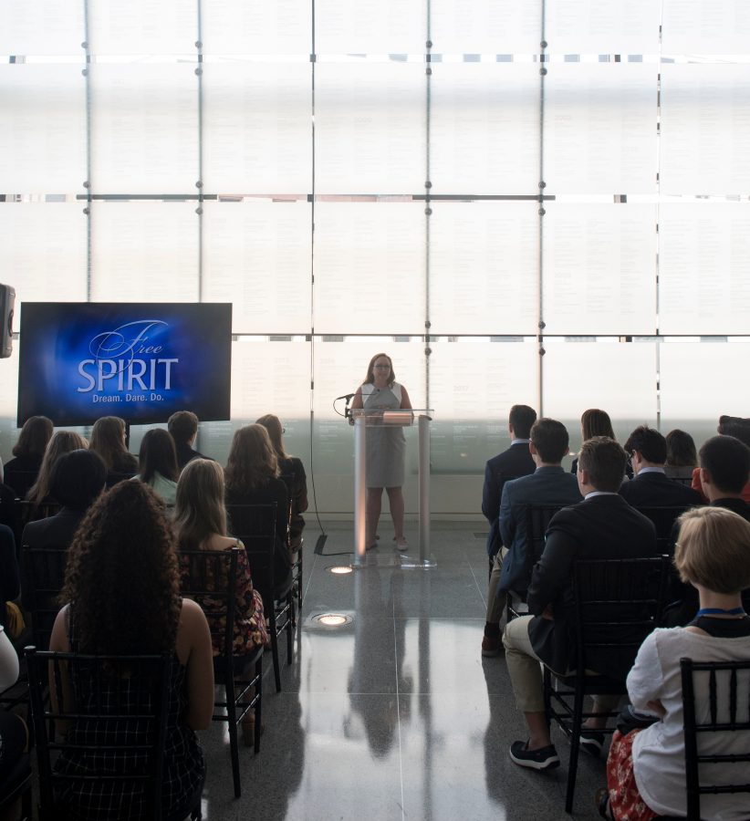 Courtney Radsch, Ph.D., the Advocacy Director of the Committee to Protect Journalists (CPJ), speaks to students in the Journalists Memorial in the Newseum. PHOTO: Freedom Forum Institute