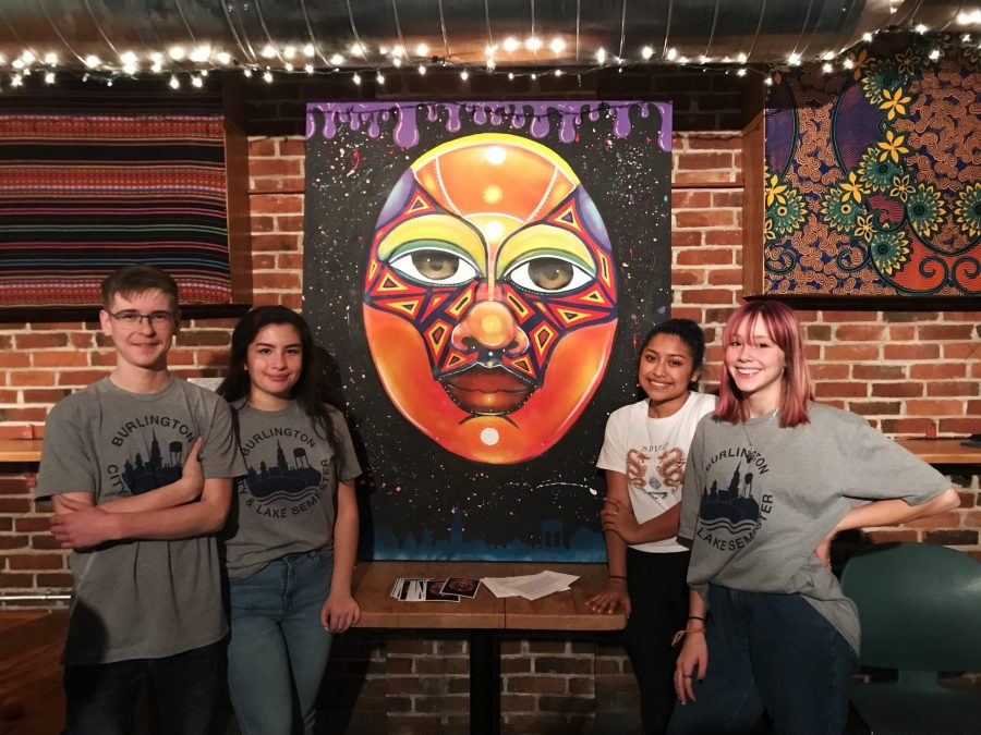 Tyler Lavoie, Gabi Gardner-Burke, Liliana Venner, and Lulu Guy showcase their artwork // Photo: Nora Jacobsen