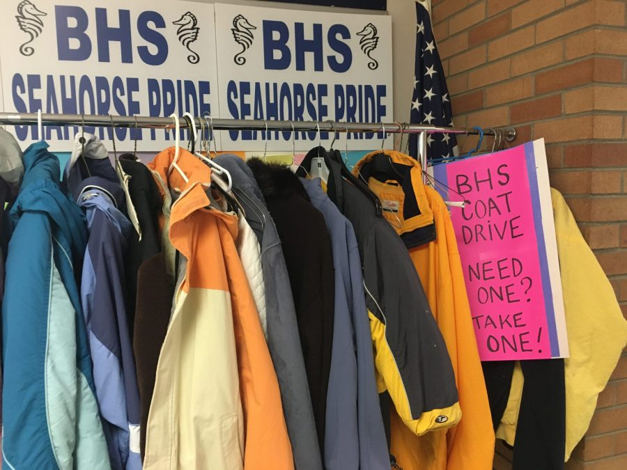 The refugee coat drive located in the BHS lobby Photo: Ayden Flanigan