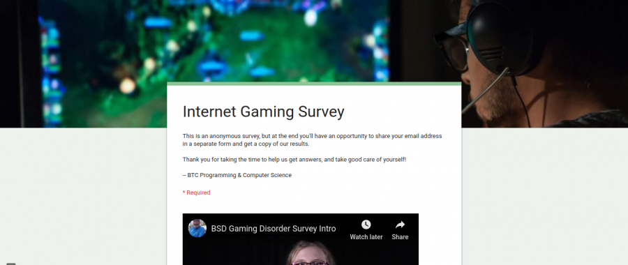 BTC Computer Science's survey on internet addiction