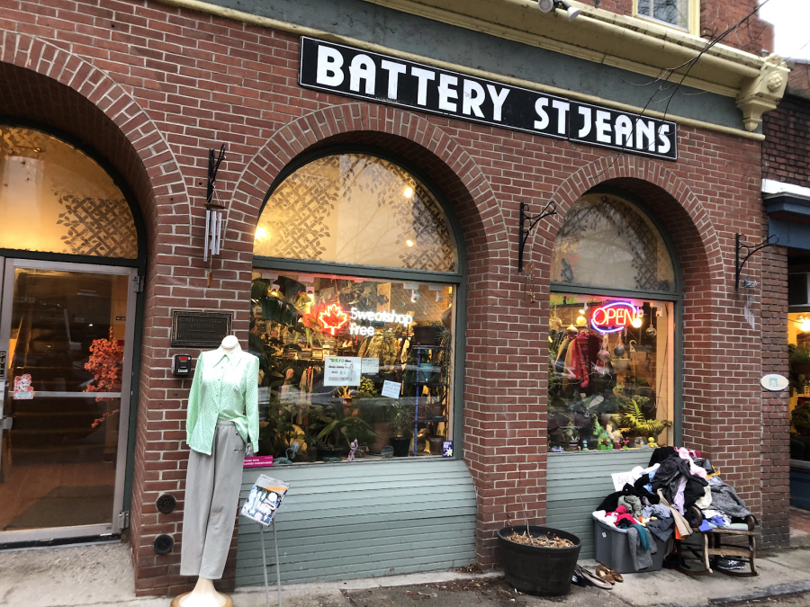 A free pile of clothing sits outside Burlington's Battery Street Jeans. / Photo: Anna Huener