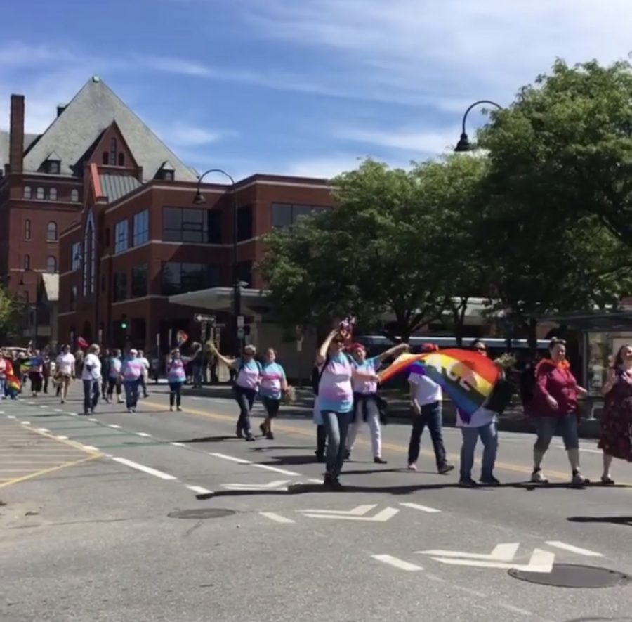 Photo: Jenna Peterson / Allies and members of the LGBTQ+ community march at Burlington's pride event in 2018.