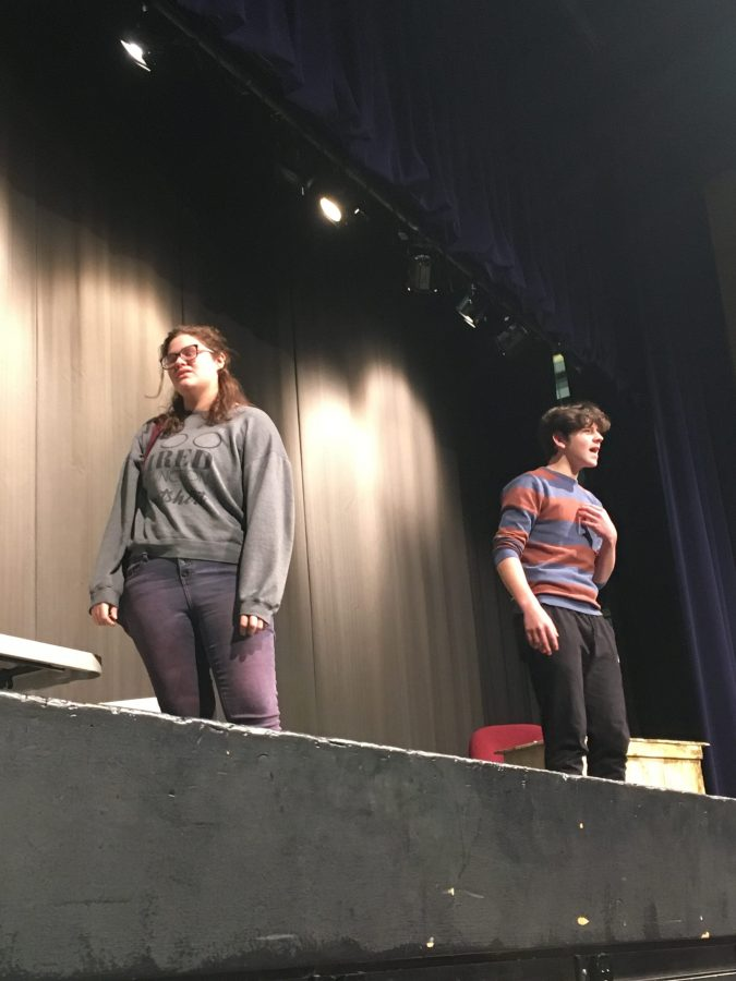 Students Mari Davis and Seth Harte rehearse for their show.
