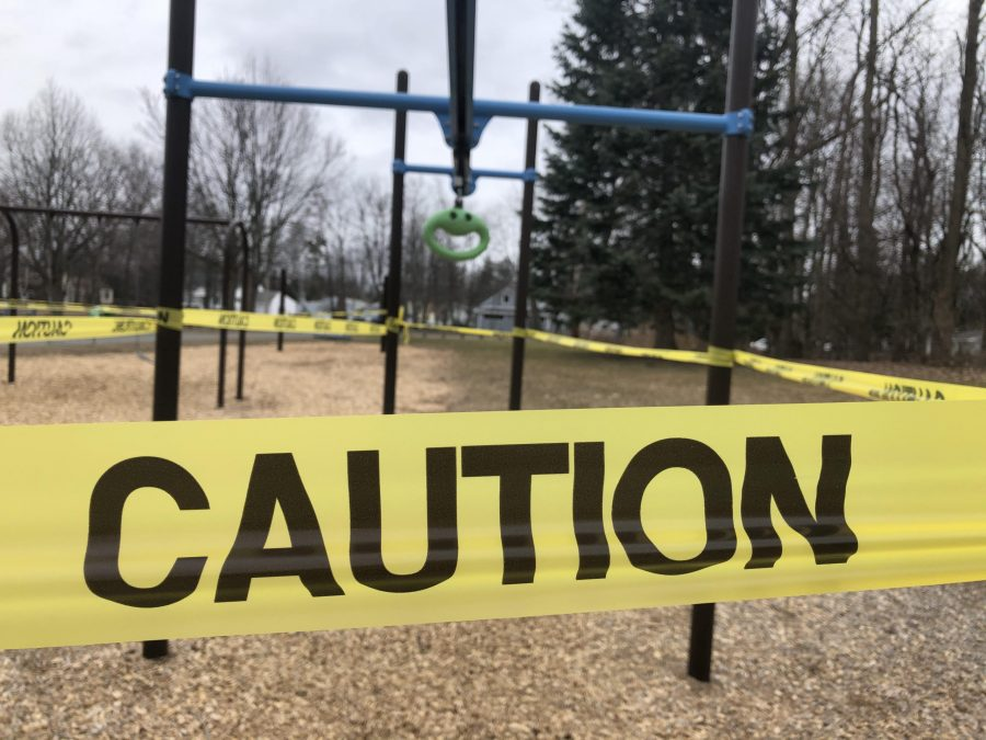 Photo: Jenna Peterson // Many parks in Burlington, including Starr Farm Park, are cautioned taped to enforce their closures.