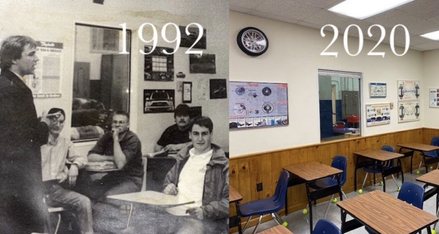Church's classroom in 1992 and 2020 Photo: courtesy Bob Church