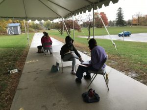 Jory Hearst's Journalism 1 class works on their articles in small groups outside BHS Photo: Jory Hearst