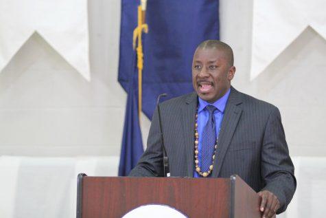 Principal Noel Green speaks at a BHS Graduation. Photo: Colby Skoglund