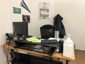 The desk of Brennan Carney left empty following dire news of his financial affairs.